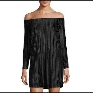 Romeo Juliet pleated velvet off the shoulder dress